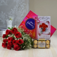 Cadbury Celebration with Red Roses and Ferrero Rocher