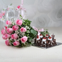 Roses with Black Forest Cake Combo