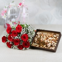 Charming Red Roses & Mixed Dryfruits Box