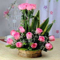 Fifteen Pink Roses Arranged in Basket