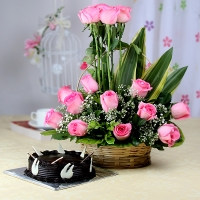 Pink Roses Arranged in Basket with Chocolate Cake