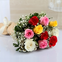 Bunch of Ten Mix Color Roses with Jute Wrapping
