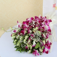 Bunch of Purple Orchids with Cellophane Wrapping
