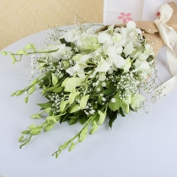 White Orchids Bunch in Jute Wrapping