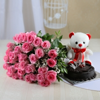 Pink Roses with Teddy Bear and Cake