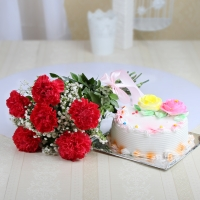 Red Carnations and Vanilla Cake