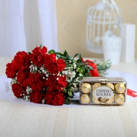 Gorgeous Red Carnations with Chocolate Box