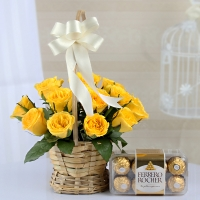 Charming Yellow Roses with Chocolate Box