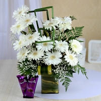 Lovely White Gerberas with Cadbury Silk