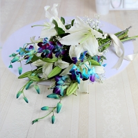 Tempting White Lilies & Blue Orchids Combo