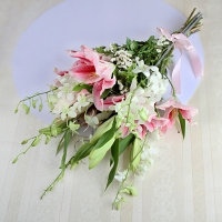 Captivating Pink Lilies & White Orchids Combo