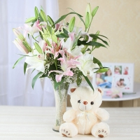 Teddy Bear & Attractive Lilies