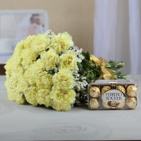 Yellow Carnations & Ferrero Rocher