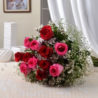 Bunch of Twelve Red and Pink Roses