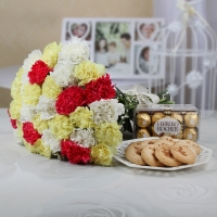 Carnations Chocolates and Cookies Combo