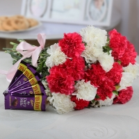Carnation Bunch and Chocolates Combo