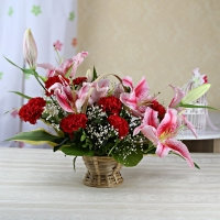 Marvelous Lilies and Carnations Basket