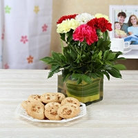 Glass Vase and Cookies Combo