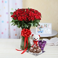 Chocolates, Flower Vase, Teddy and Cake Combo