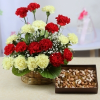 Basket Arrangement of Carnations with Assorted Dry Fruits