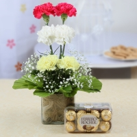 Vase Arrangement of Carnations with Ferrero Rocher Chocolate