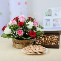 Mix Roses Basket Arrangement with Dryfruits and Cookies