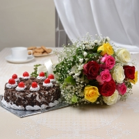 1/2 kg Round Black Forest Cake with 12 Mix Roses