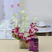 Vase with Orchids Keychain and Chocolate Combo
