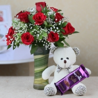 Red Roses in Glass Vase with Cadbury Silk