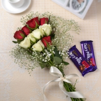 10 Red and White Rose Bunch with Chocolate
