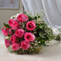 12 Pink Rose in a Bunch