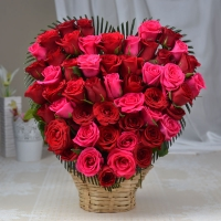 50 Red and Pink Rose Heart Shape Bunch