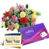 Colourfull Carnations N Cadbury Celebrations Pack with Greeting
