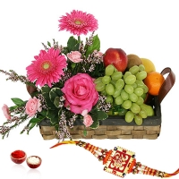 Fresh Fruits and Flowers in Basket