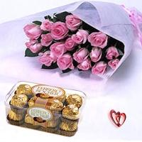 Pink Roses and Chocolates From My Heart