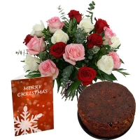 Christmas Wishes with Mix Roses and Plum Cake