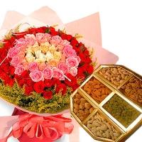 50 Mix Roses Bouquet N Assorted Dryfruits
