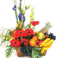 Fresh Fruits & Flowers in a Gift Basket