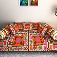 Colorful Diwan Set, Cushions and Bolsters