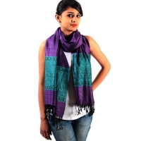 Reversible Firozi Border Purple Stole for Delivery in USA