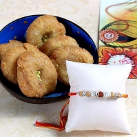 Rudraksh Work Rakhi with Balushahi for USA Delivery