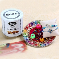 Rakhis with Designer Thali and Mixed Nuts for USA