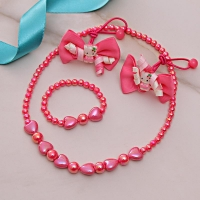 Pink Pearl Necklace Bracelet Set with Rubber Band