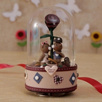 Musical Teddy Love Couple in Glass Globe