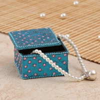 Blue Trinket Box with Pink Color Glass