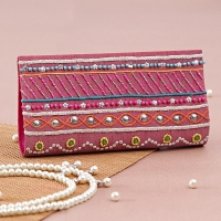 Pink Designer Clutch with Hand Embroidery