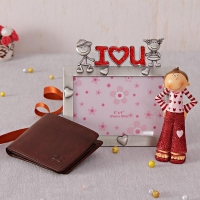 Metal Photo Frame with Wallet and Boy Statue