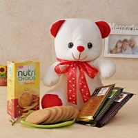 Teddy, Chocolates and Cookies Combo