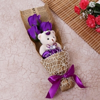 Classic Rose Soap Bouquet with Teddy Bear
