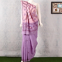 Purple Pink Chikan Embroidered Saree with Blouse